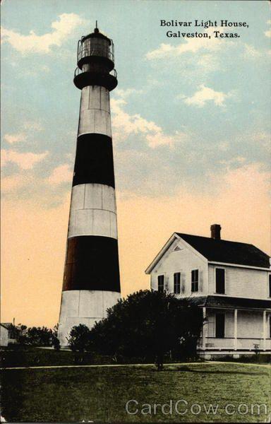 Galveston TX Bolivar Light House 1900s