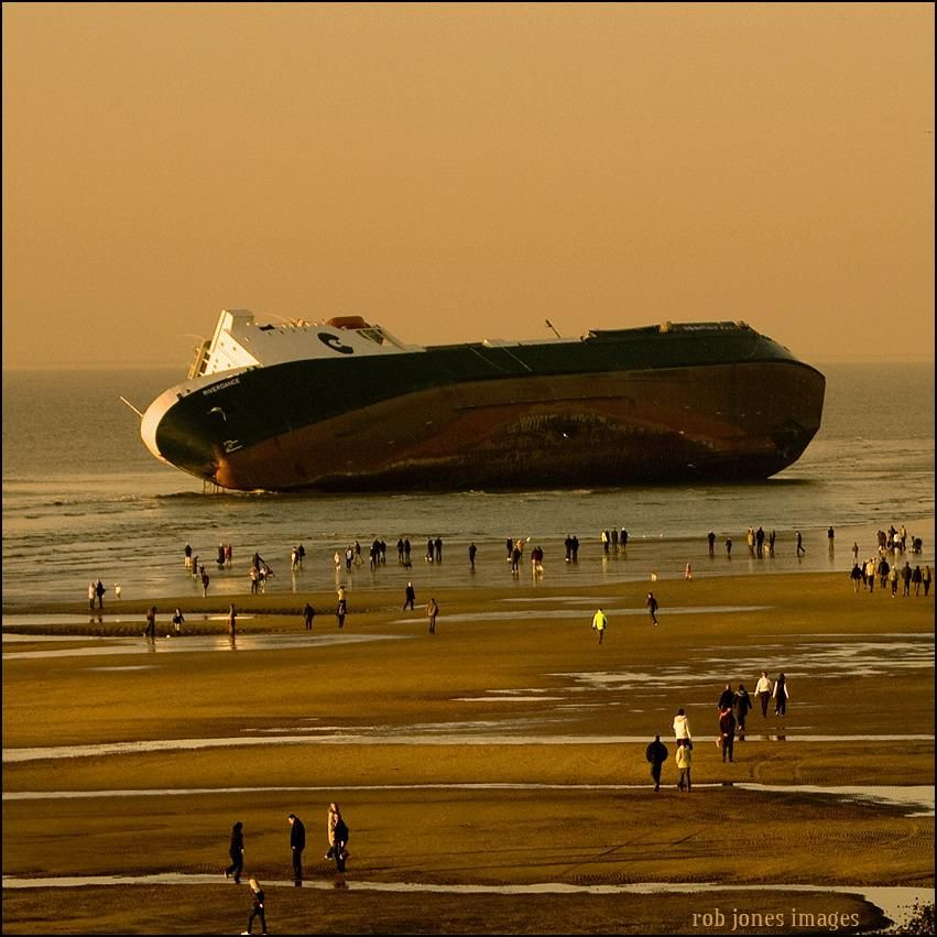 Abandoned ship on the beach