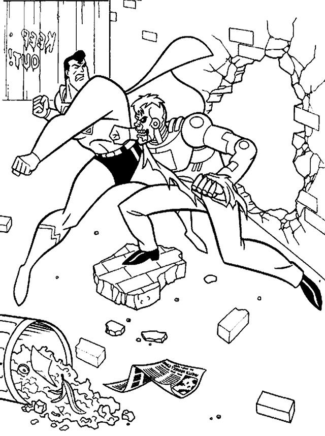 Superman Fight Coloring Page