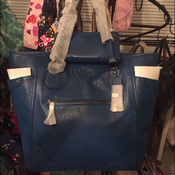6a062808697 Large Authentic Coach Mickie Satchel Tote Blue LARGE GRAIN LEATHER MICKIE  SATCHEL BAG BRAND NEW WITH TAGS (MATCHING WALLET AVAILABLE IN OTHER  LISTING- if ...
