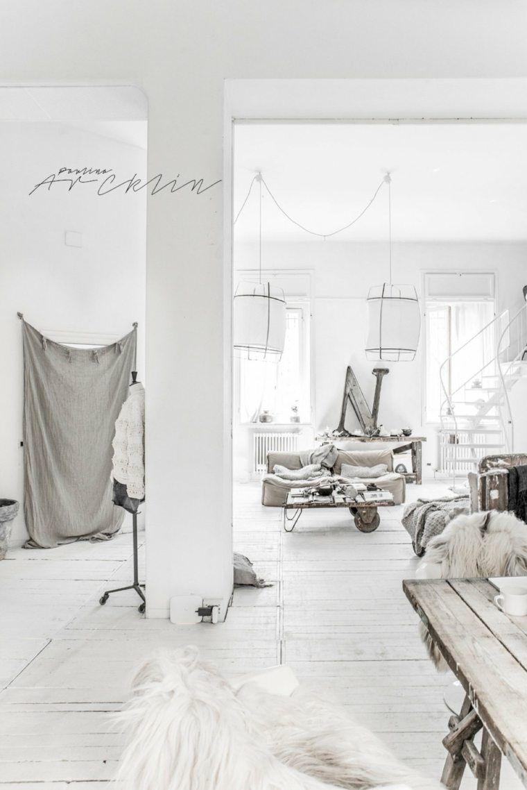 Neueste innenarchitektur industrielles und rustikales interieur ein paradies in weiß