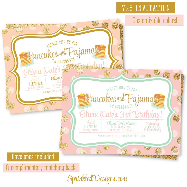 Pancakes and Pajamas Birthday Party Invitation - Pink Peach Gold ...