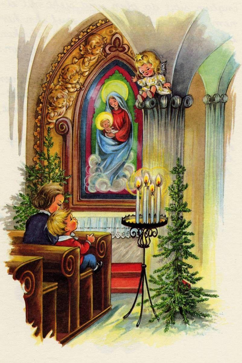 Religiöse Weihnachtskarten.The Angel With The Golden Nose15 Bw Elfriede Türr