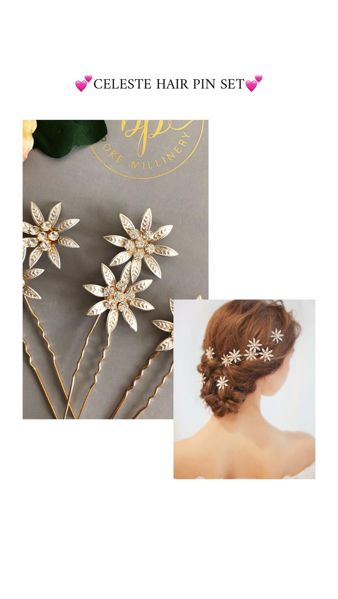 celeste pin set of 3/the bobby pin/bridal hair accessories