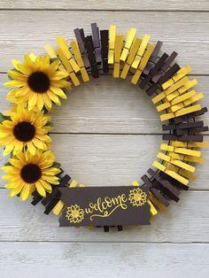 Photo of Sunflower welcome clothespin wreath / front door wreath / summer wreath / autumn wreath