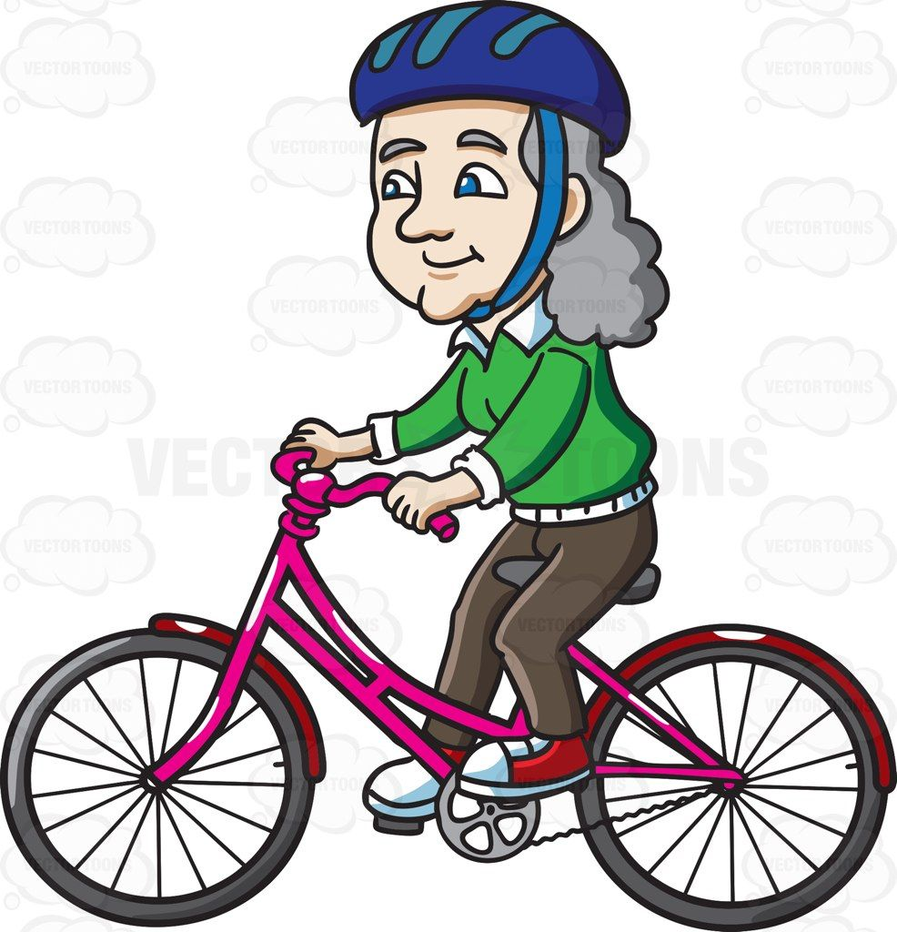 A Female Senior Citizen Riding A Bike With Delight Bike Ride