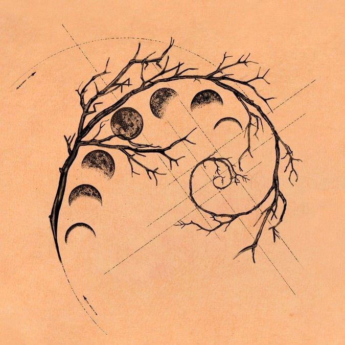 Fibonacci spiral branches moon sequence