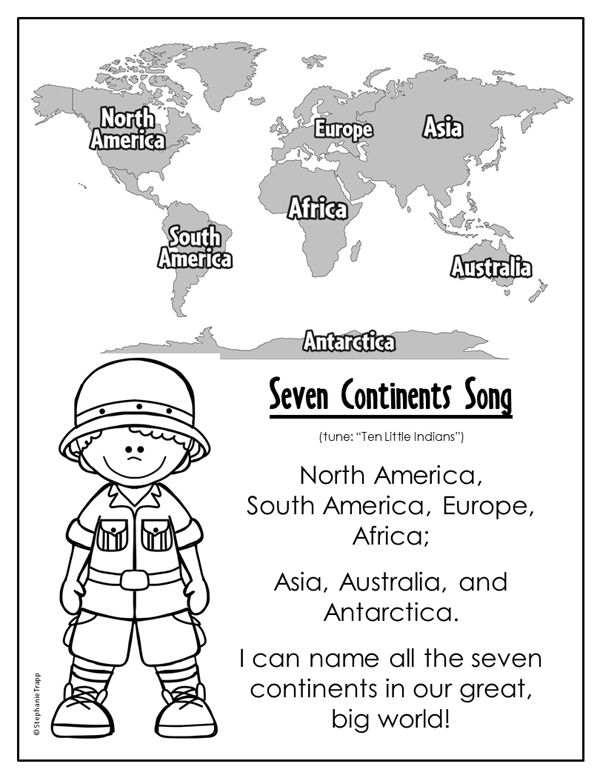 Seven Continents Song | Continents song, Writing ...