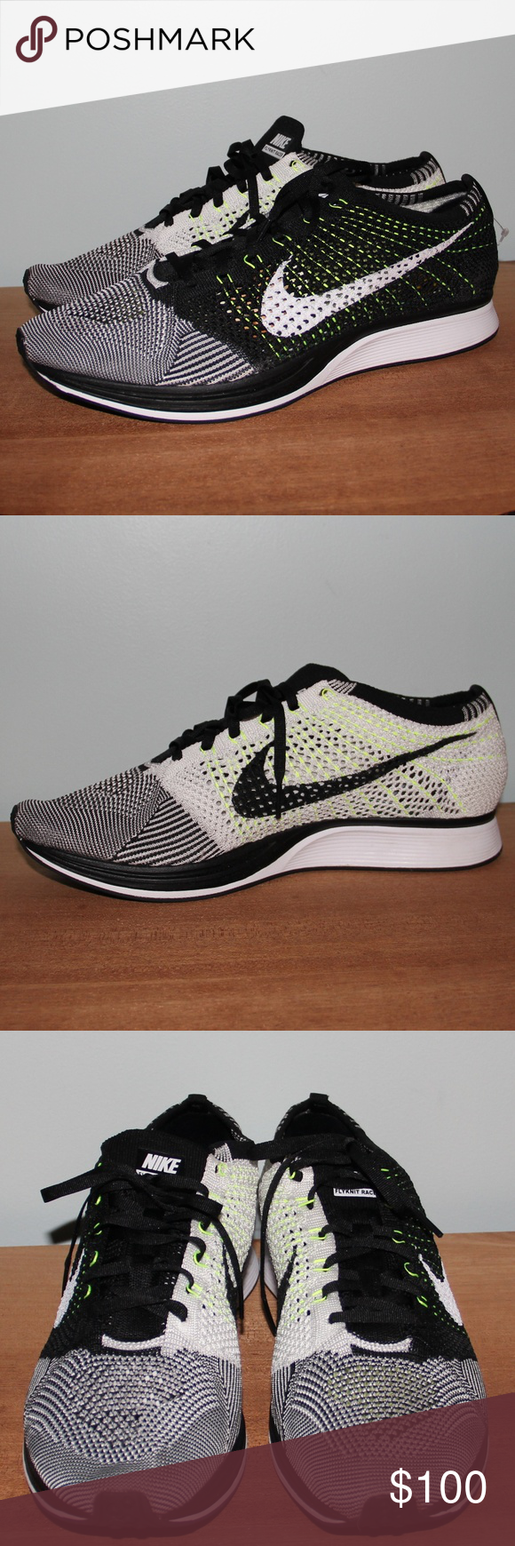 superior quality 3befc 79a92 NWOB Nike Flyknit Racer Oreo Volt Running Shoe 13 Brand new without box  Men s size 13