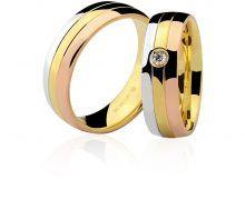 Par de Alianças Ouro Amarelo Branco Vermelho e Diamante   Joias ... bcb0871ebc