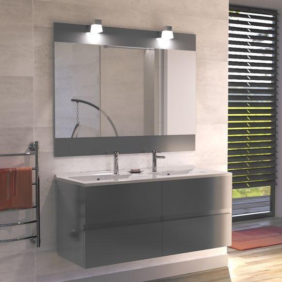 Creazur - Meuble salle de bain double vasque Rosaly 120 - Gris