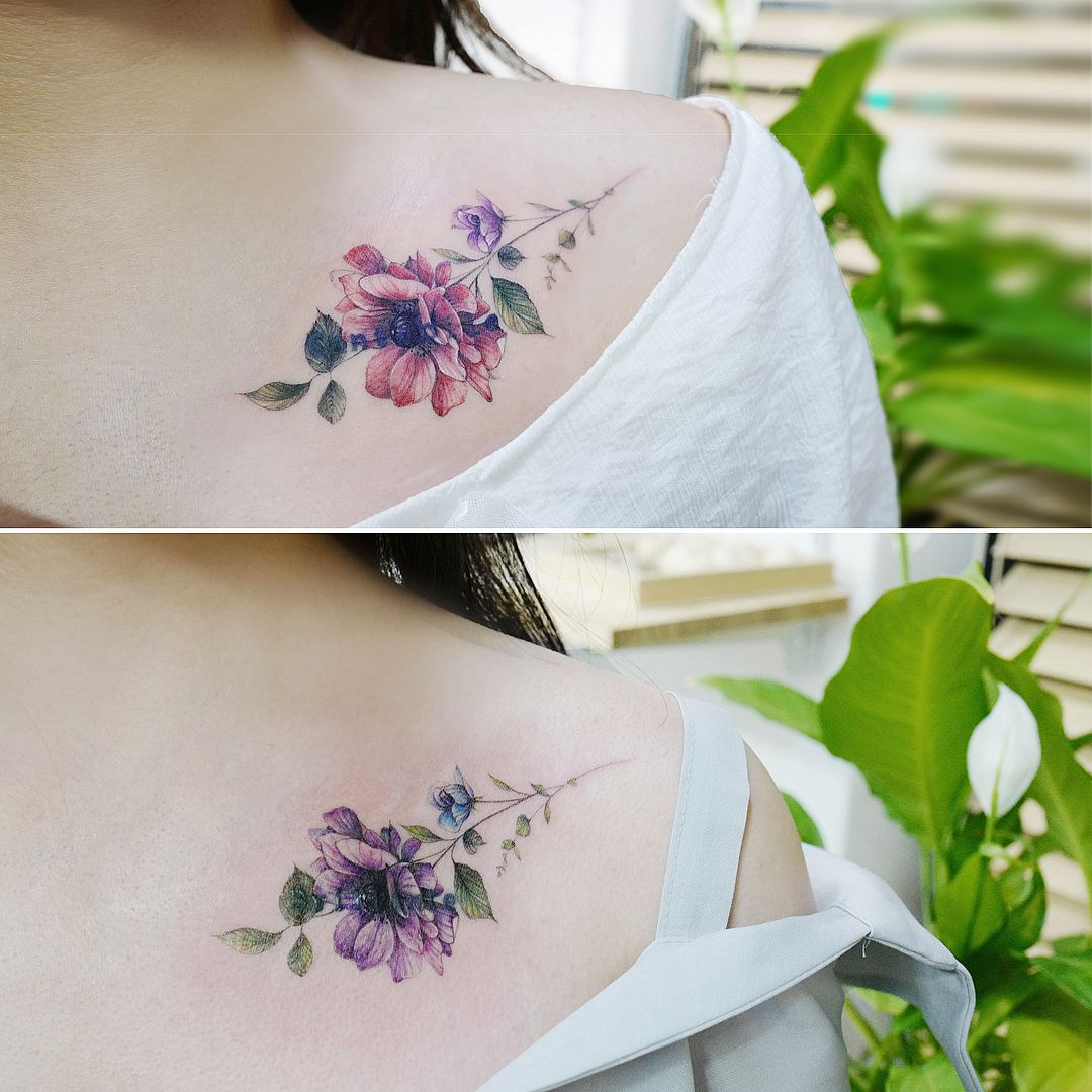 Anemone Flower Cover Up Friendship Tattoo Tattooistbanul Tattoo Tattooing Flower Flowertattoo Friendship Tattoos Violet Flower Tattoos Tattoos