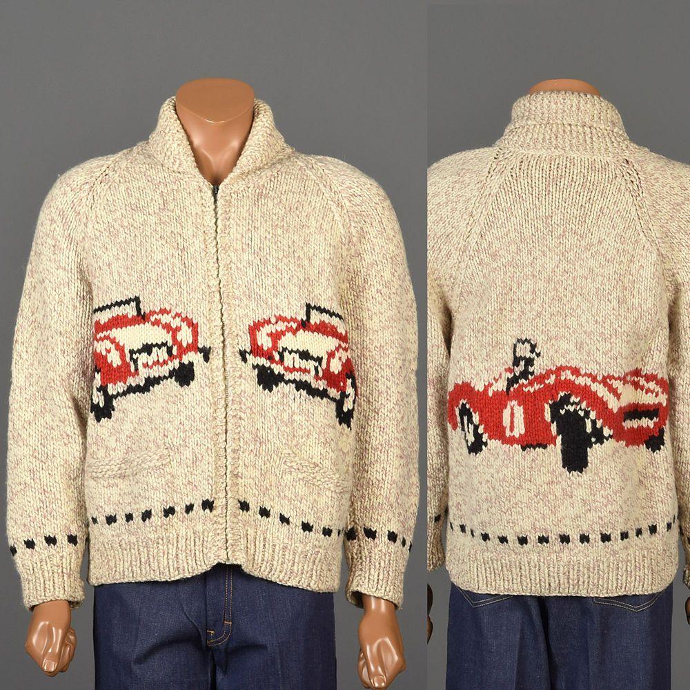 M Mens Vintage 1950s 50s Knit Cowichan Sweater Cardigan Race Car Alfa Romeo Racer Alfaromeo