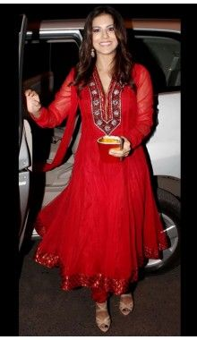 Red Net Readymade Designer Suit  Rs.7,599