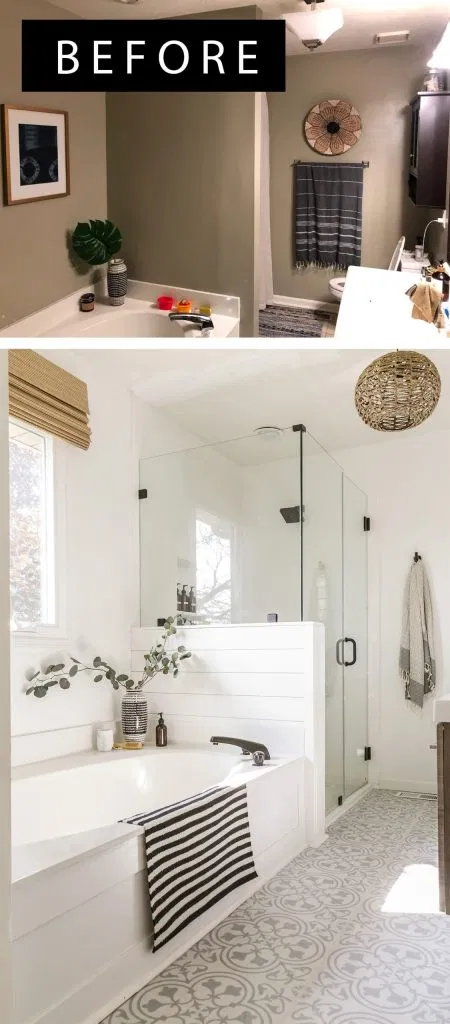 Reveal Boho Farmhouse Master Bathroom Remodel With Decor Sources In 2020 White Master Bathroom Bathroom Remodel Master Farmhouse Master Bathroom