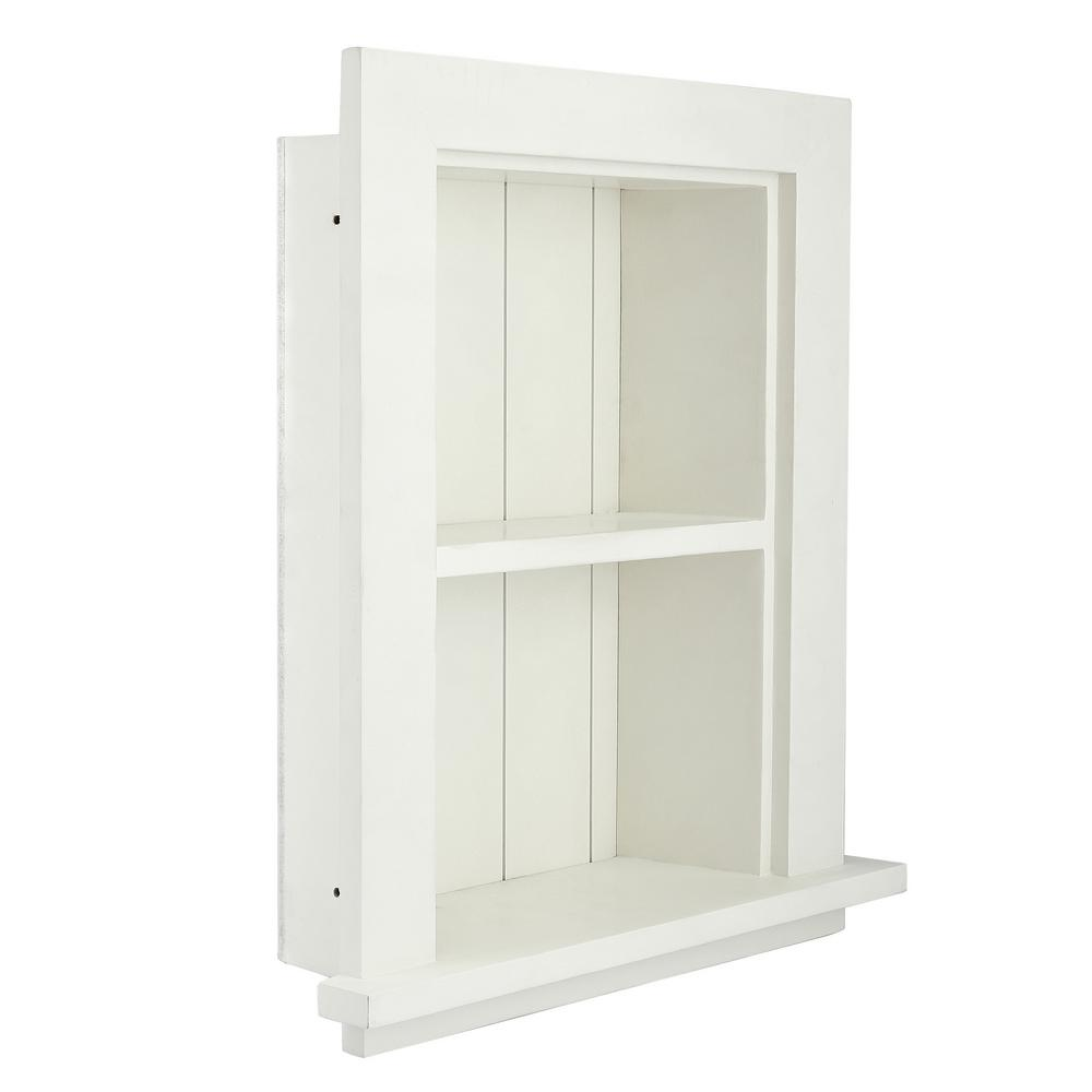 Adirhome 12 75 In W Wood Bathroom Recessed Wall Shelf In White 515 01 Whi Recessed Shelves Bathroom Wall Shelves Wall Shelves