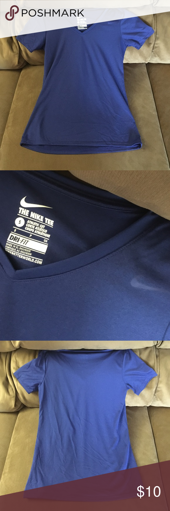 Nike Dri Fit V-Neck Size Small In excellent condition. No flaws. No piling or fading. Super cute . Fits true to size. Lowest offer is the price listed. No trades or Mercari. Made of a Dri Fit material. Nike Tops Tees - Short Sleeve