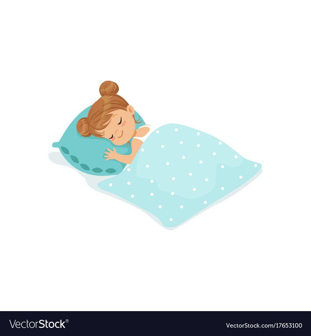 Sweet Little Girl Sleeping On Her Bed Cartoon Character Vector Illustration Isolated On A White Backgroun Little Girl Cartoon Cute Cartoon Images Girl Sleeping
