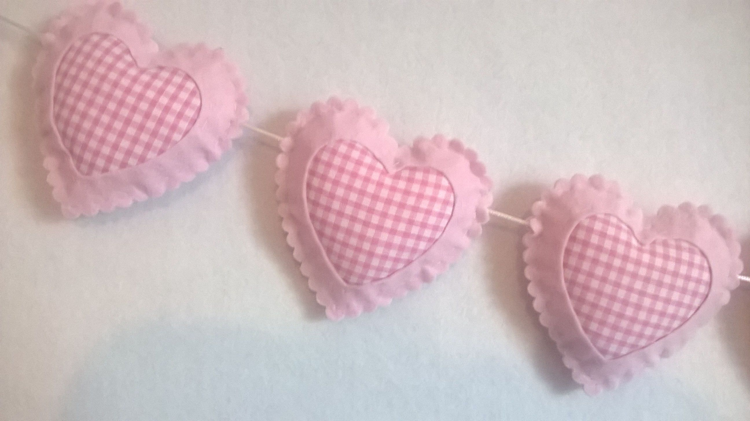 WITH GINGHAM,SHABBY CHIC, HEART CIRCLE GARLAND