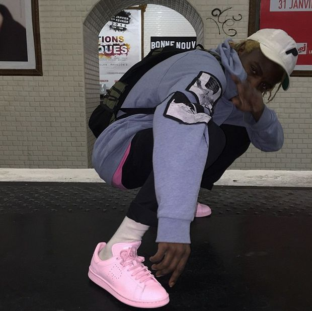 Ian Connor in the Raf Simons x adidas Stan Smith Print images on back of  clothes and sleeves not on front boring