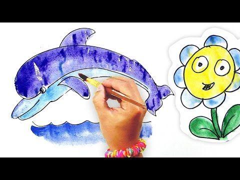 Мультик раскраска Рыба, Дельфин, Краб, Ромашка рисует ...