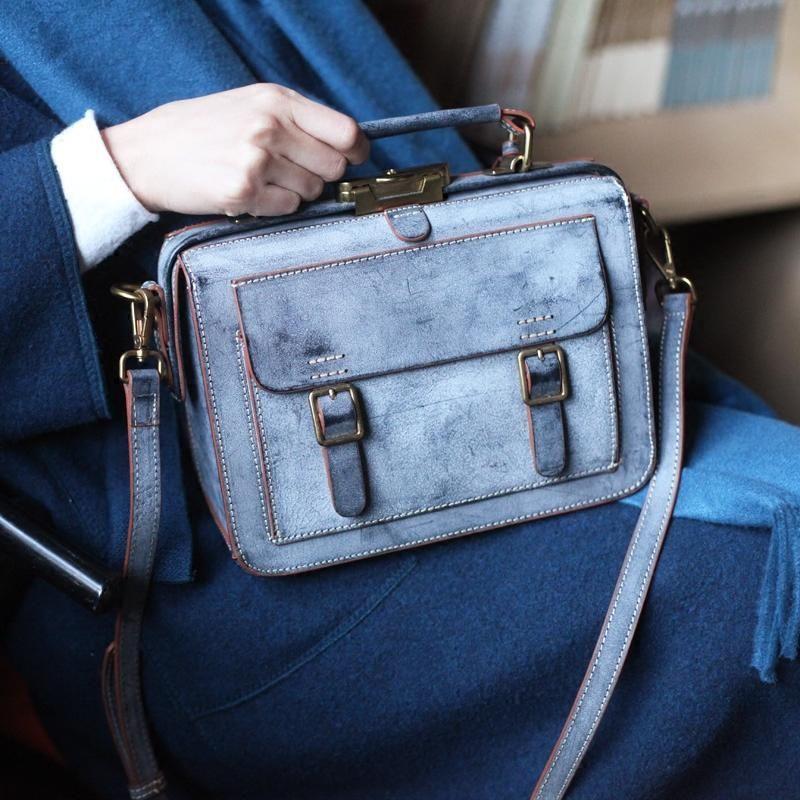 c4bb3755d91d9 Handmade Waxed Cowhide Leather Messenger Bag Shoulder Bag Women's Fash –  LISABAG