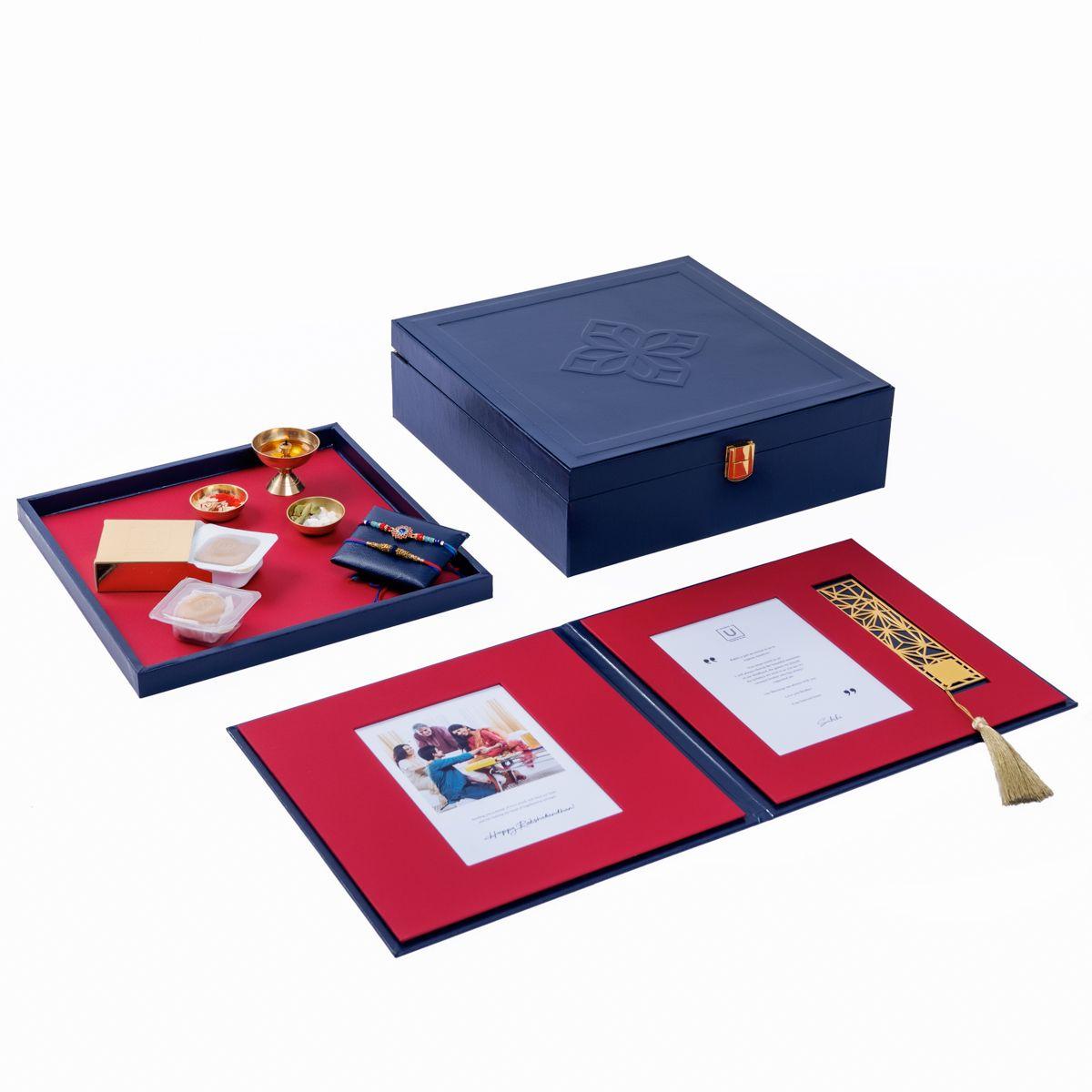 Montage Rakhi Gift Box Navy Burgundy Highline In 2020 Rakhi Gifts Rakhi Send Rakhi To India