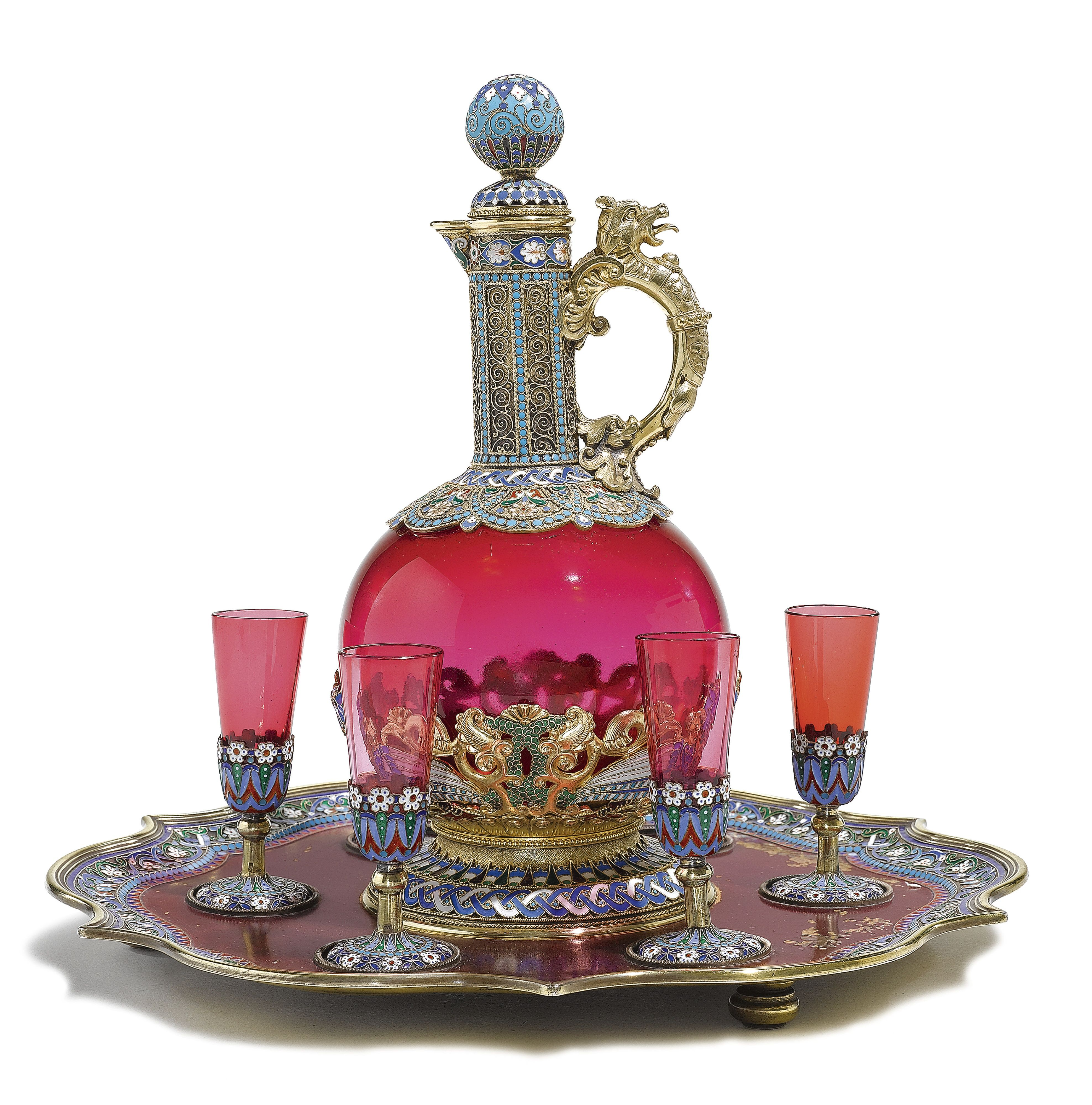 A Rare And Unusual Silver Gilt Cloisonne Enamel Glass And Lacquer Liqueur Set Ovchinnikov Moscow 1899 Vintage Decanter Set Antique Glass Vintage Objects