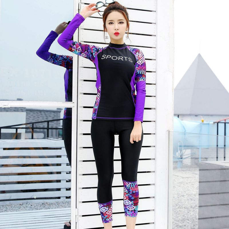 098b8da41e 2017 women Swimming Suit Full Body Covered Surfing Suit Long Sleeves Long  Pants Rash Guards Two