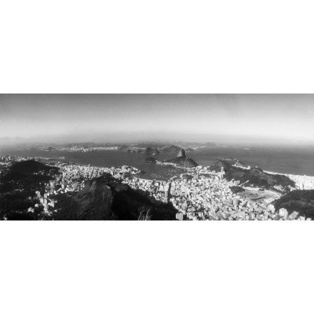 House on the coast from Corcovado Rio de Janeiro Brazil Canvas Art - Panoramic Images (36 x 12)
