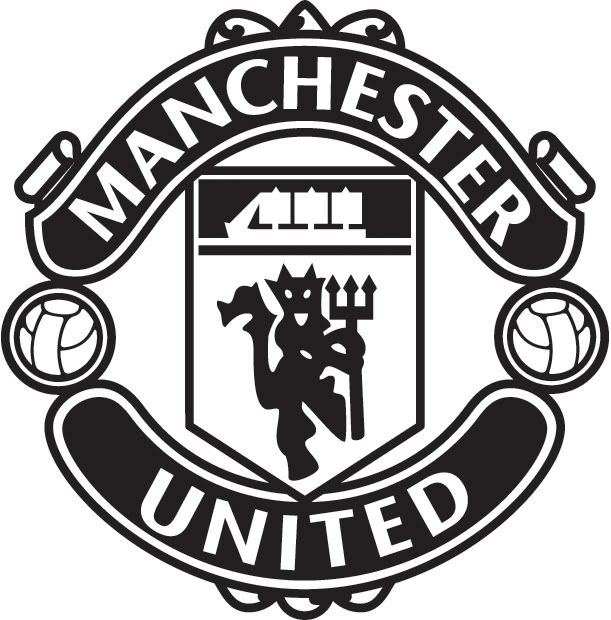 manchester united logo black and white theme and