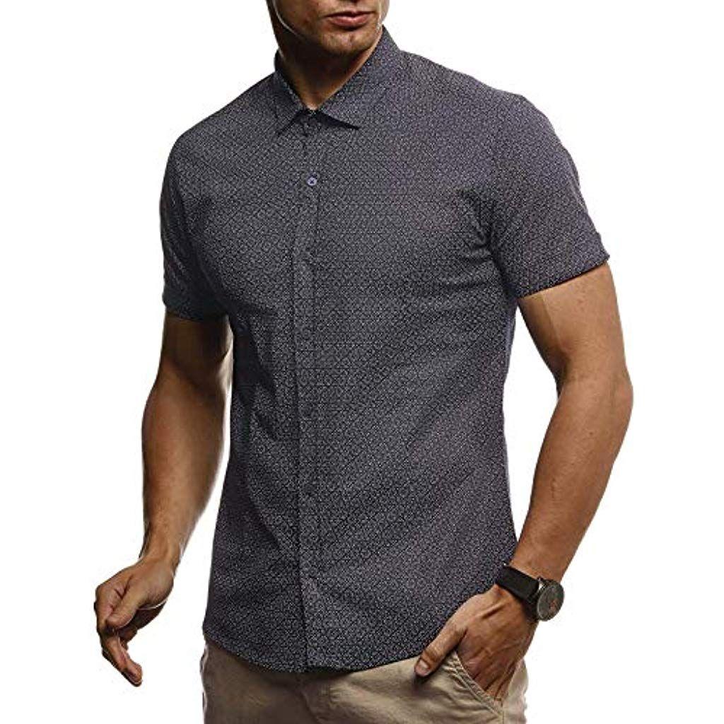 buy popular 78a0f 9385b LEIF NELSON Herren Hemd Kurzarm Sommer T-Shirt Kentkragen ...