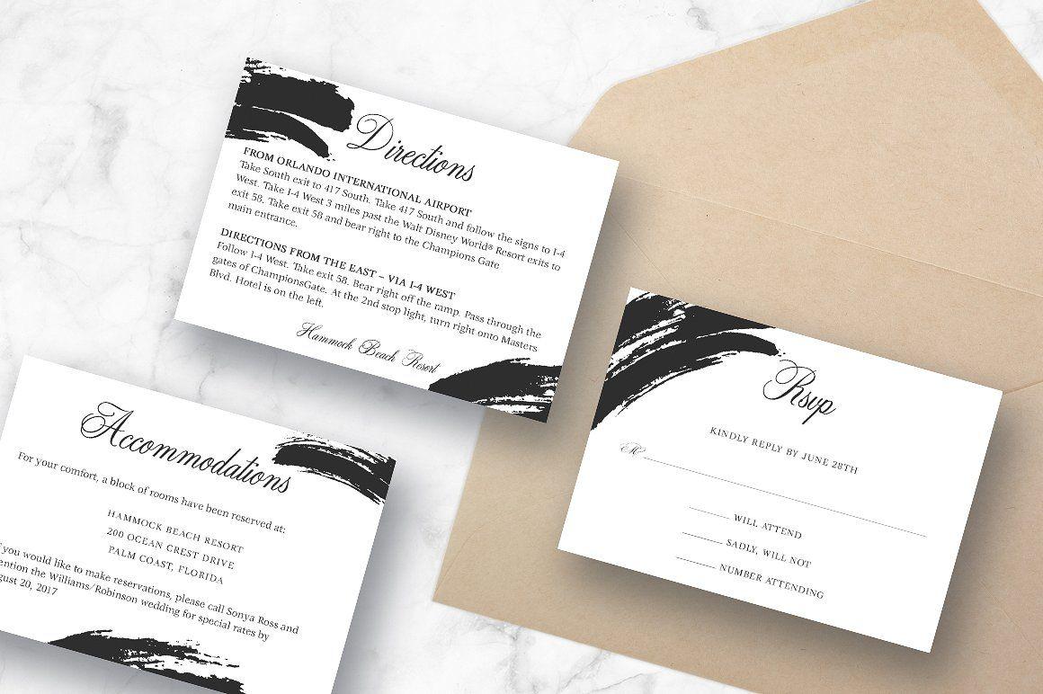 Ebony Paint Brush Wedding Suite #Menu#Accommodations#cards