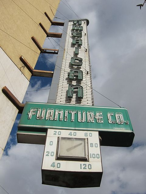 Vintage Dallas Neon Signs | American Furniture Sign With Thermometer,  Downtown El Paso, TX