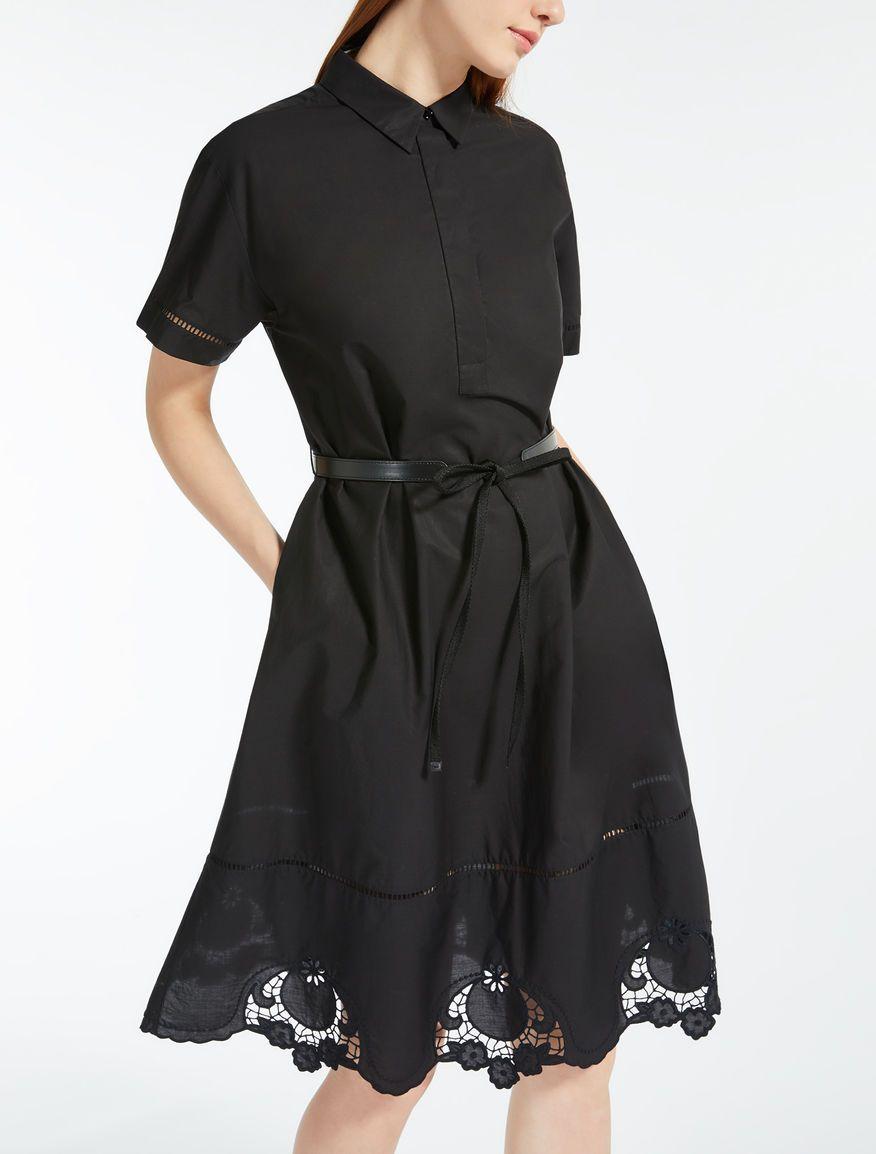Max Mara Alcali Noir Robe En Popeline De Coton Poplin Dress Dresses Elegant Dresses For Women