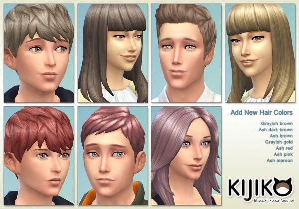 Kijiko New Hair Colors Sims 4 Downloads Sims 4 Cc Sims Hair