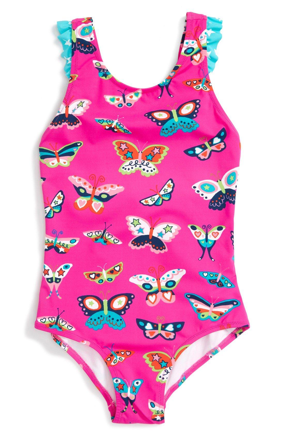 898e31c25ab64 Hatley 'Electric Butterflies' Ruffle One-Piece Swimsuit (Toddler Girls,  Little Girls & Big Girls)