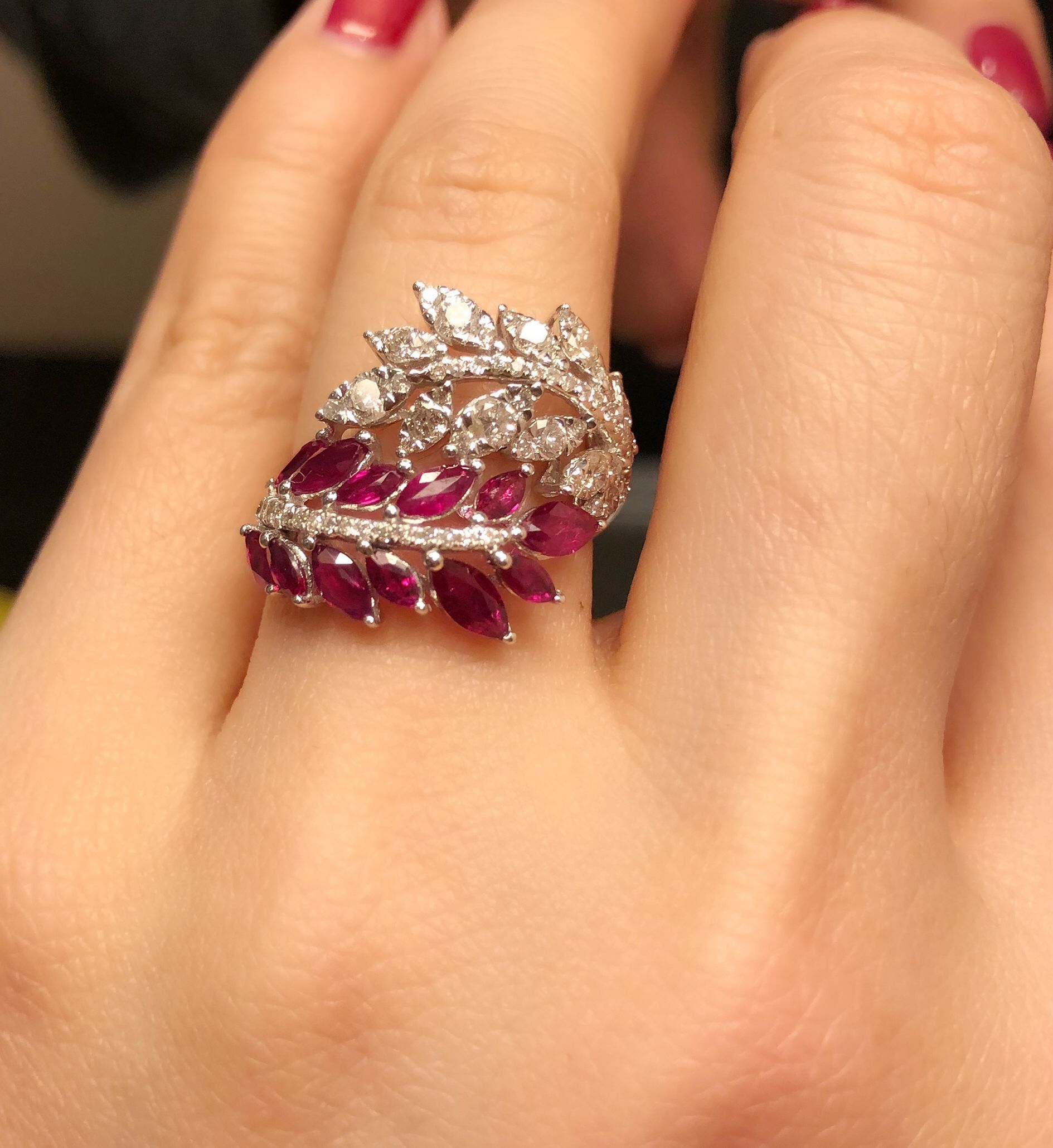Ruby and diamond autumn leaves ring