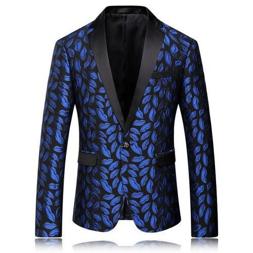 Mstyle Men Formal Slim Turn Down Collar Fashion Floral Print One Button Blazer Jacket Coat