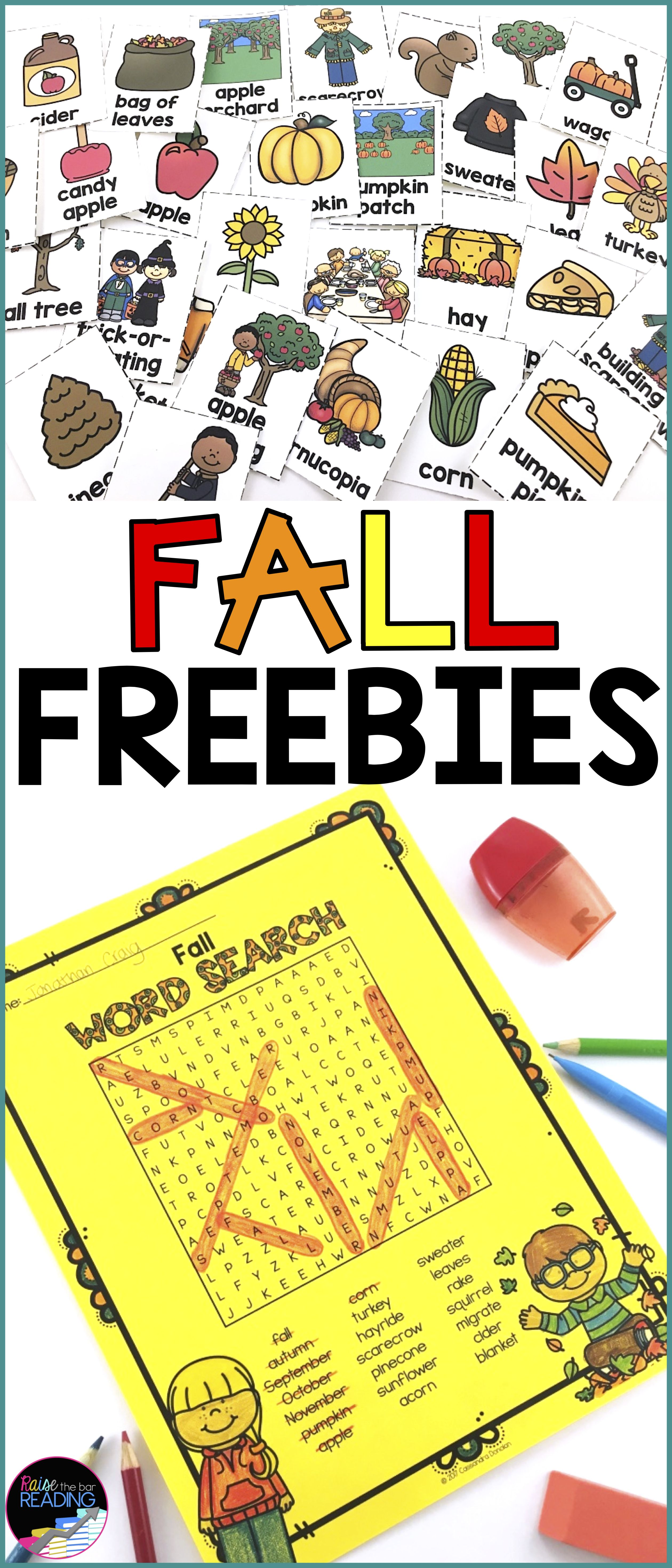 Free Fall Activities Fall Vocabulary Cards And Fall Word Search