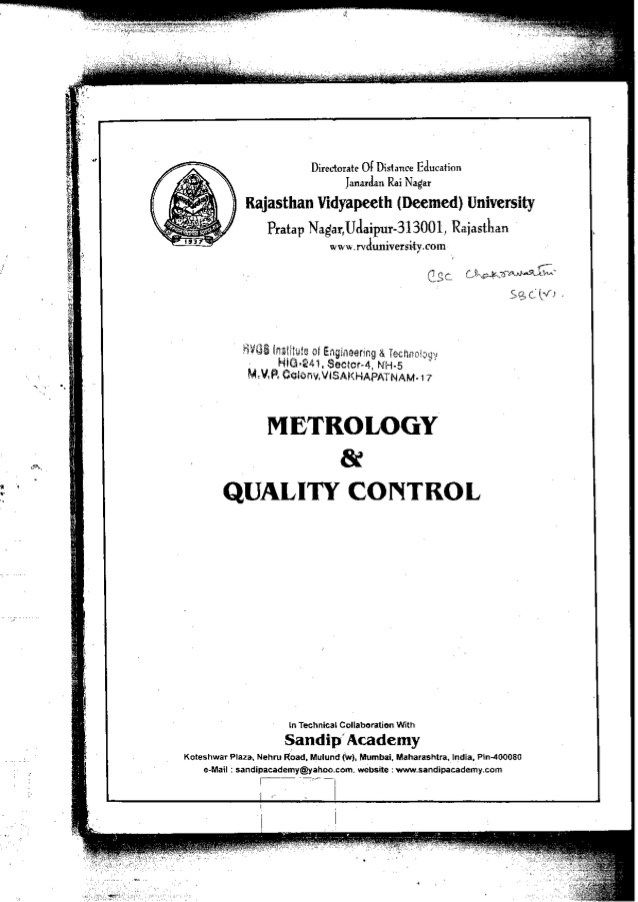 Metrology Quality Control Textbook  Textbook And Books