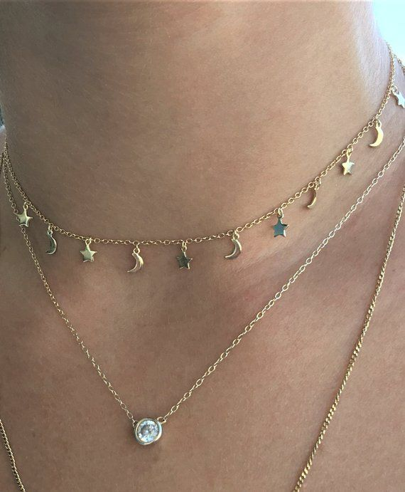 0bb7caa9e6a09 Star and Moon - Sterling Silver, Rose or Gold Choker Necklace - Moon ...