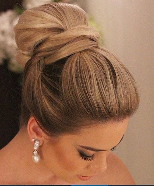 Elegant High Bun In 2019 Bridal Hair Updo Wedding