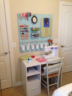 I might have to do something like this as I have a very small sewing space. That and hanging the notions on the wall would keep them away from 2.5 year old hands that love to play with bobbins.