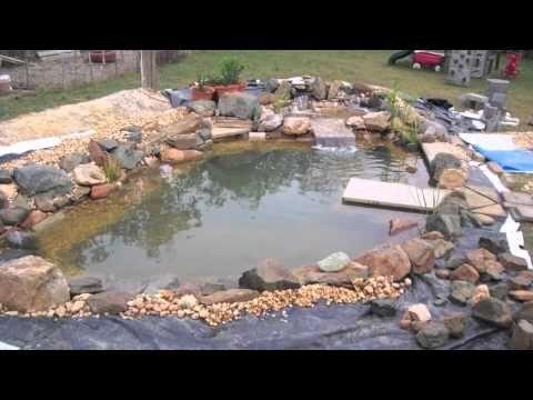 Diy koi pond using recycled billboard tarp youtube for Koi pool liners