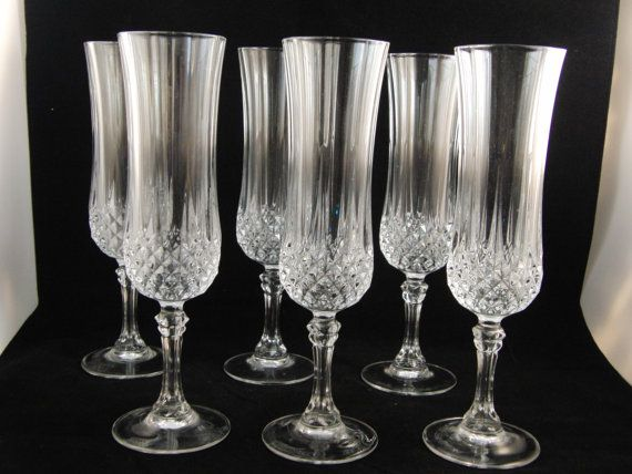 genuine lead crystal 6 longchamp glasses champagne glasses by crystal darques made in france they are in excellent condition no chips or other damages