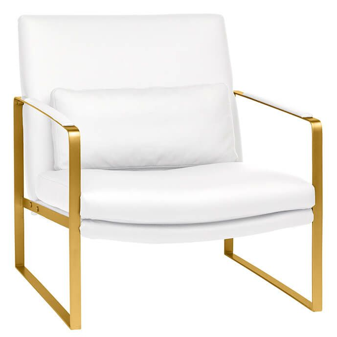 Pleasing Suza Modern Lounge Chair White Brushed Gold Accent Chairs Andrewgaddart Wooden Chair Designs For Living Room Andrewgaddartcom