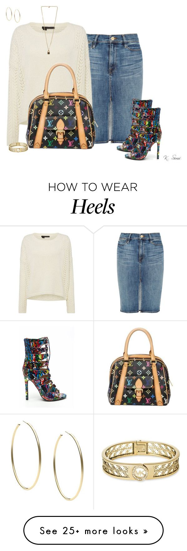 """""""Look at those heels!!"""" by ksims-1 on Polyvore featuring Frame Denim, 360 Sweater, Louis Vuitton and Michael Kors"""