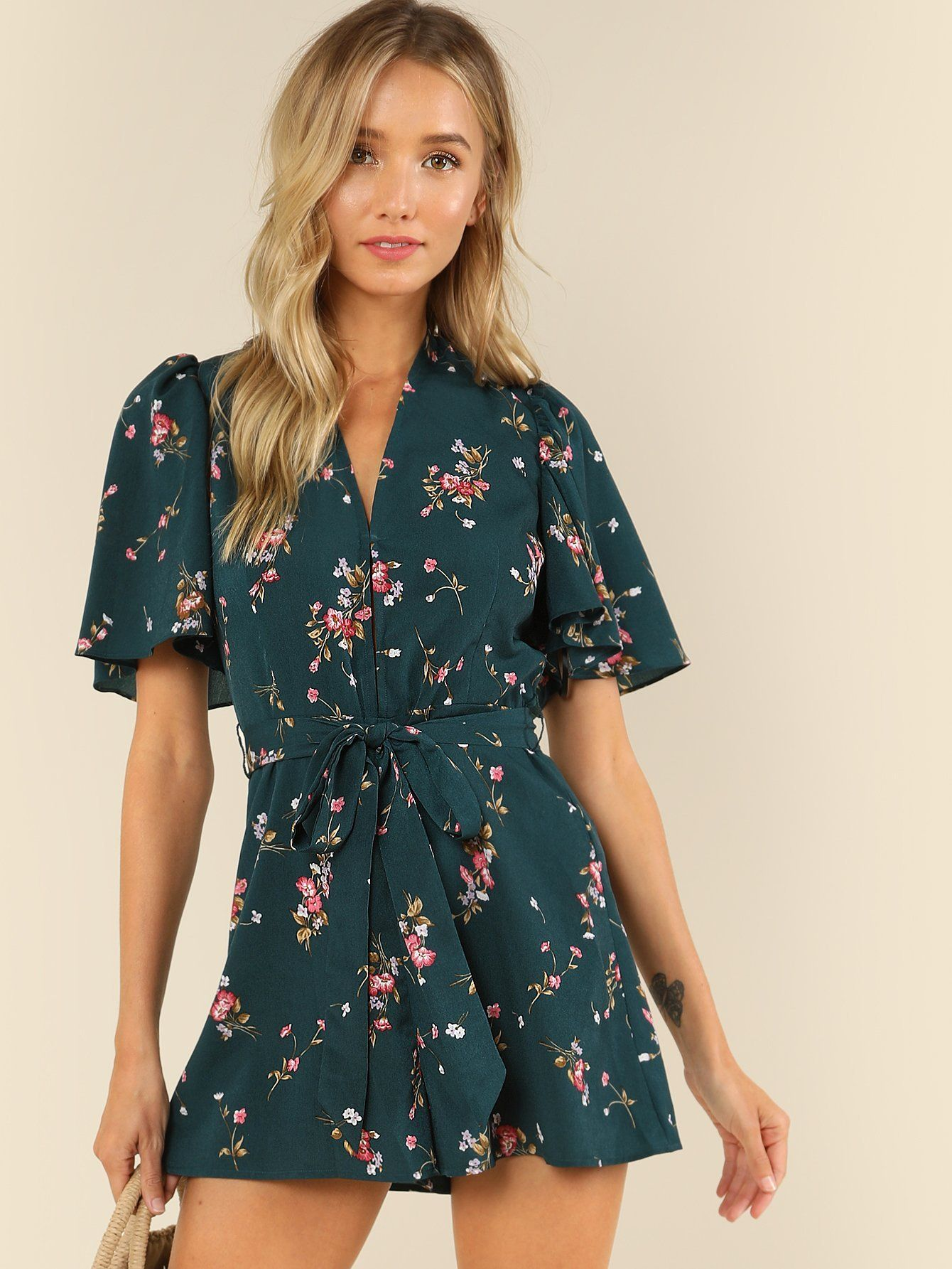 bd172852e51 Plunge Neck Flounce Sleeve Belted Ditsy Romper