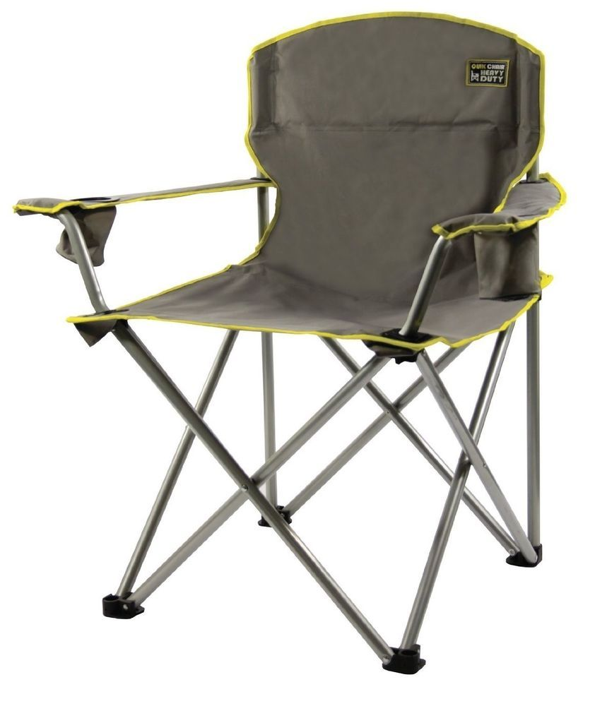 Gray Folding Chair Heavy Duty Portable Oversized Camping Patio Lawn Chairs  Seat